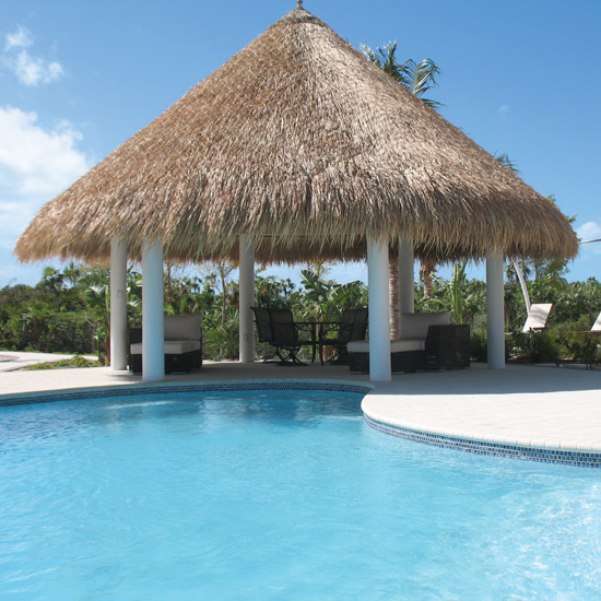 Elephant Grass Thatch Roof Near Pool