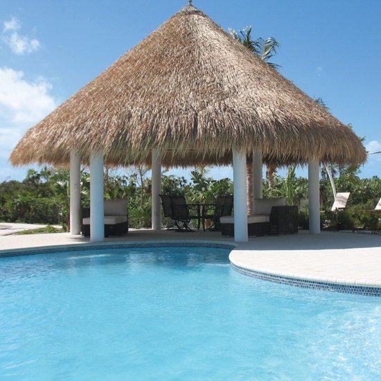 Elephant Grass Thatch Roof Near Pool