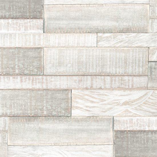 White Washed Interlocking Wood with Mesh Backing