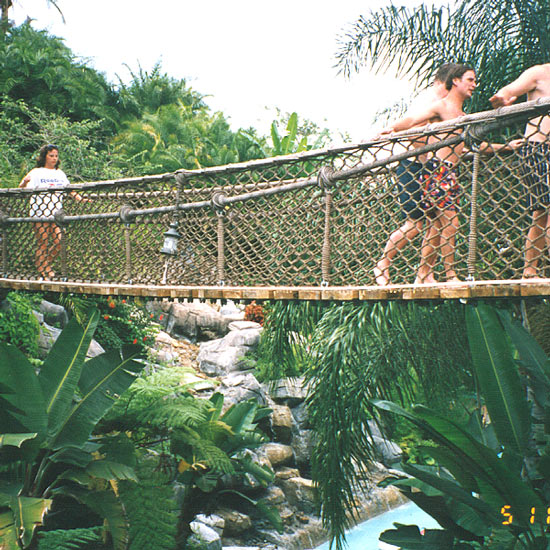 People Crossing a Polyester Combination Rope Made Bridge