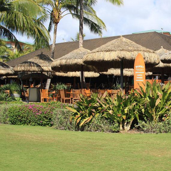 Dukes Beach House Maui: Tropical Thatch Materials & Bamboo Decor