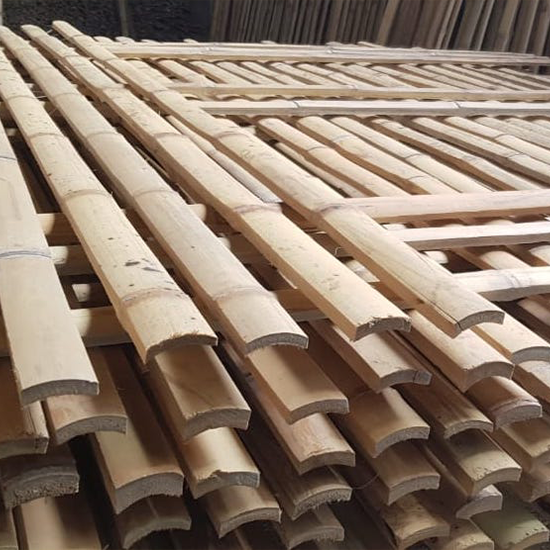 Flat Bamboo Slats Piled Uo One Another